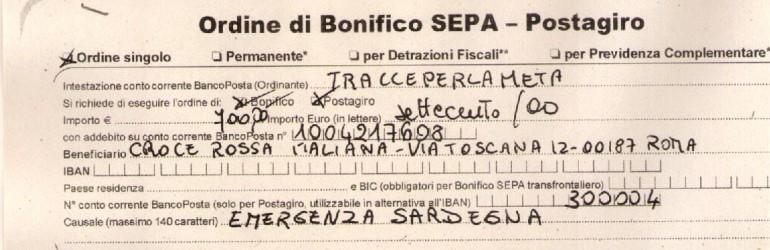 14 Aprile 2014 Emergenza Sardegna 2 Versamento Croce Rossa