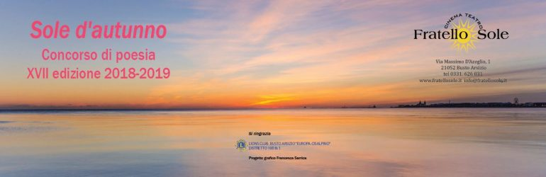 Scadenza 31.5.2019 – Sole d'autunno – Concorso di poesia XVII edizione 2018-2019
